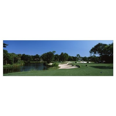 Lake in a golf course, Osprey Point, Kiawah Island Poster