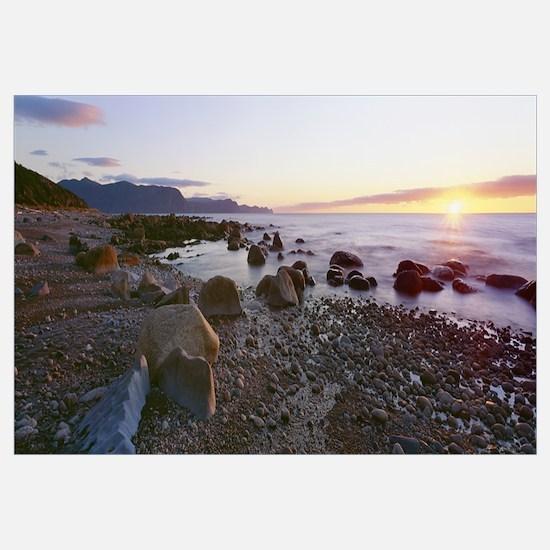 Sunset along rocky coast, Gros Morne National Park