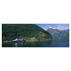 Cruise ship in the fjord, Geiranger Fjord, Geirang Poster