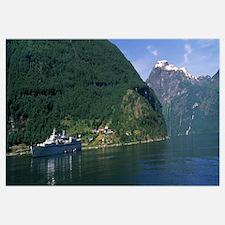 Cruise ship in the fjord, Geiranger Fjord, Geirang