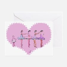 Ballerinas in a Row Heart Greeting Card
