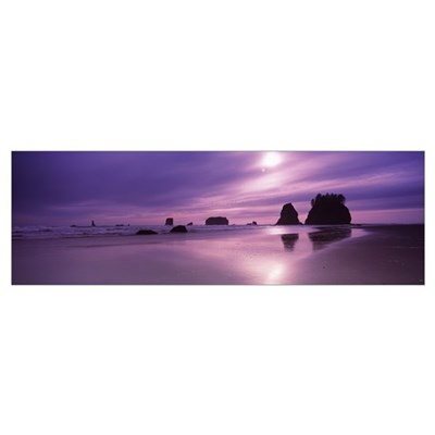Silhouette of seastacks at sunset, Second Beach, W Poster