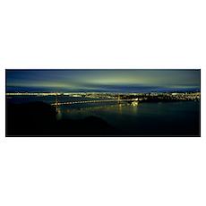 Suspension bridge lit up at dusk, Golden Gate Brid Poster