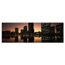 Buildings lit up at dusk, Oakland, Alameda County, Canvas Art