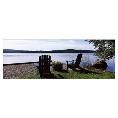 Chairs at the lakeside, Raquette Lake, Adirondack Poster
