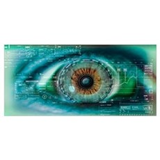 Close up of an eye with tech diagrams in abstract Poster