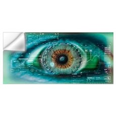 Close up of an eye with tech diagrams in abstract Wall Decal