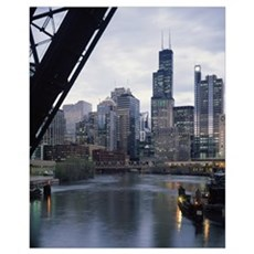 City at the waterfront, Chicago River, Chicago, Co Canvas Art