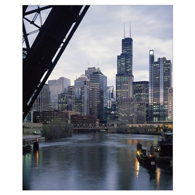 City at the waterfront, Chicago River, Chicago, Co Poster