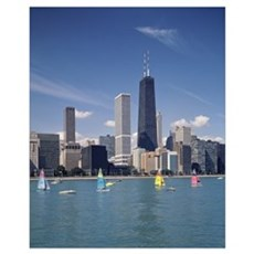 Sailboats in a lake, Lake Michigan, Chicago, Cook Framed Print