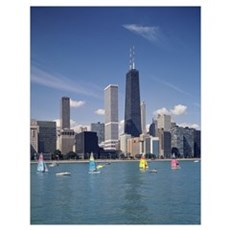 Sailboats in a lake, Lake Michigan, Chicago, Cook Poster