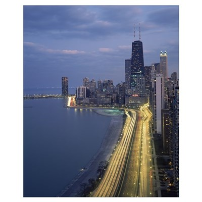 City at the waterfront, Lake Michigan, Chicago, Co Poster