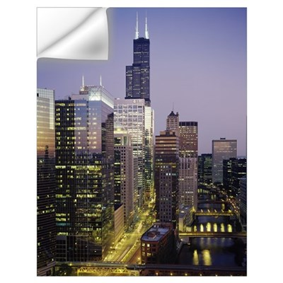 Skyscrapers lit up at night, Sears Tower, Chicago, Wall Decal