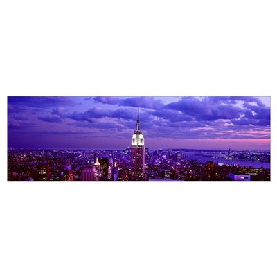 Aerial view of a city, Rockefeller Center, Midtown Framed Print