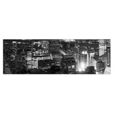 Aerial view of a city at night, Midtown Manhattan, Framed Print