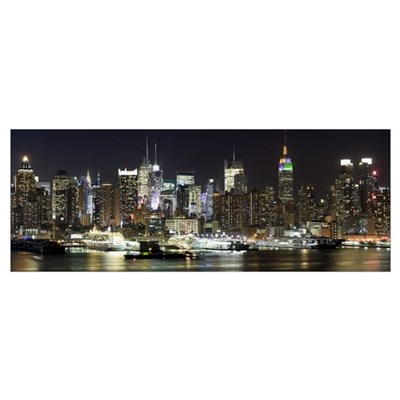 Buildings in a city lit up at night, Hudson River, Poster