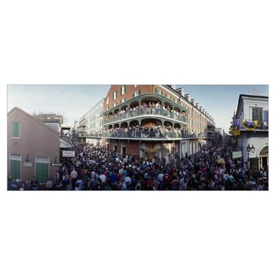 People celebrating Mardi Gras festival, New Orlean Poster