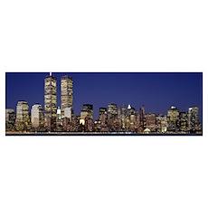 Skyscrapers in a city World Trade Center Manhattan Poster