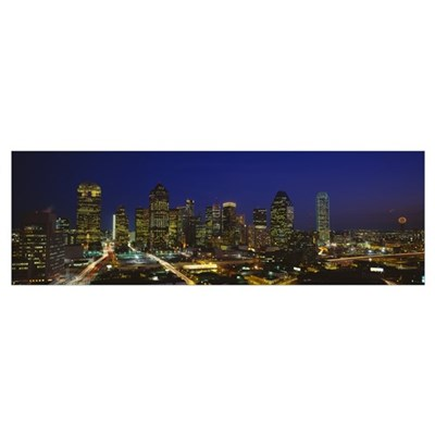 Buildings in a city lit up at night Dallas Texas Poster