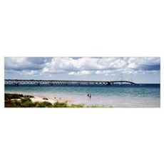 Bridge across a lake Mackinac Bridge Mackinaw City Poster