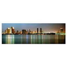 City skyline at night San Diego California Poster