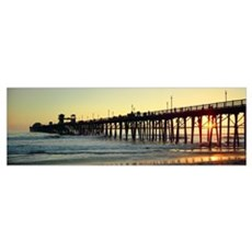 Pier in the ocean at sunset Oceanside San Diego Co Canvas Art