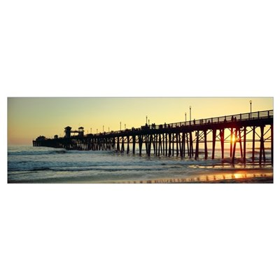 Pier in the ocean at sunset Oceanside San Diego Co Poster