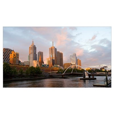 Buildings at the waterfront Yarra River Melbourne Poster