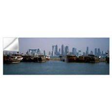 Harbor with skylines in the background Dhow Harbou Wall Decal