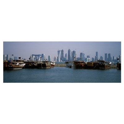 Harbor with skylines in the background Dhow Harbou Canvas Art