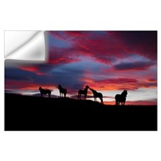 Silhouette of horses at night Iceland Wall Decal