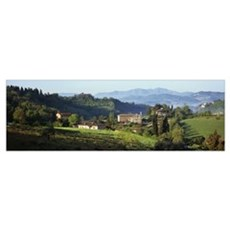 Houses on a landscape Marches Italy Poster