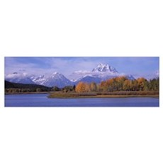 River with mountains in the background Oxbow Bend  Framed Print