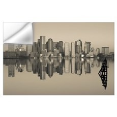 Reflection of buildings in water, Boston, Massachu Wall Decal