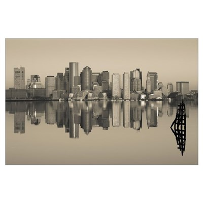 Reflection of buildings in water, Boston, Massachu Poster