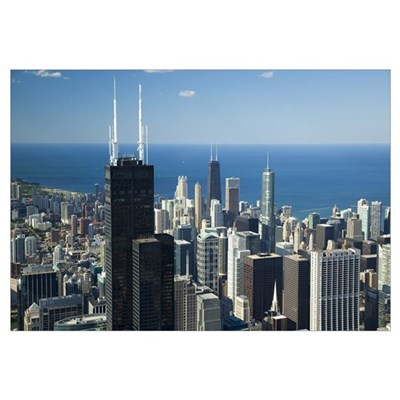 Aerial view of a city, Lake Michigan, Chicago, Coo Canvas Art