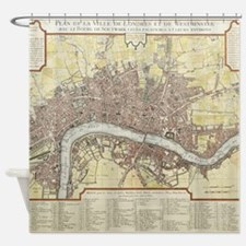 Vintage Map of London England (1727 Shower Curtain