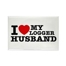 I love my Logger Husband Rectangle Magnet