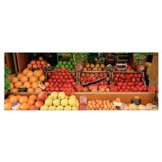 Close-up of fruits in a market, Rue De Levy, Paris Framed Print