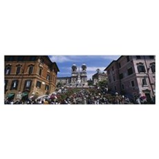 Low angle view of tourist on steps, Spanish Steps, Poster