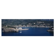 High angle view of an island, Puerto De Soller, Ma Poster