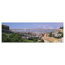 Road under an aqueduct, Segovia, Spain Poster