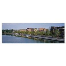 Buildings on the waterfront, Cayuga-Seneca Canal,  Poster