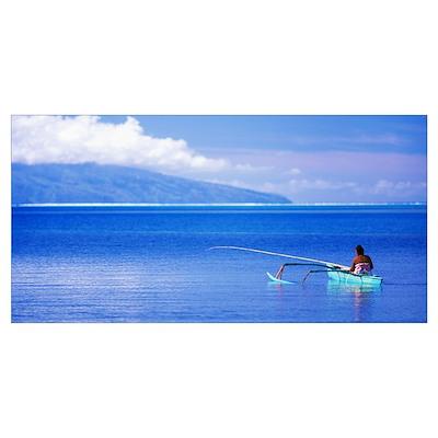 Woman in Canoe Fishing Tahiti Poster