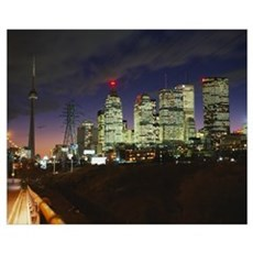Buildings lit up at night, Toronto, Ontario, Canad Poster