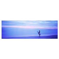 Man With Surfboard on Beach Costa Rica Poster