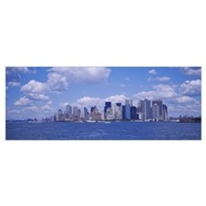 Skyscrapers on the waterfront, Manhattan, New York Canvas Art