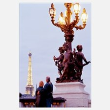 Couple Admiring Eiffel Tower Paris France