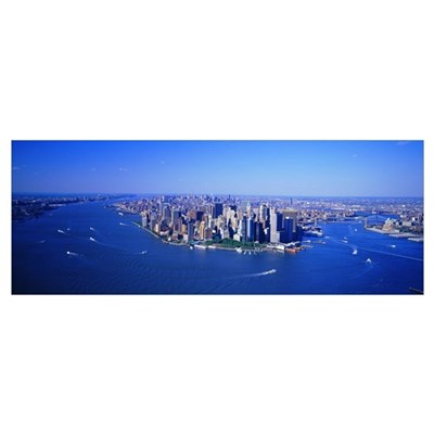 Aerial Lower Manhattan New York City NY Poster