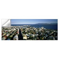 High angle view of a city, Reykjavik, Iceland Wall Decal